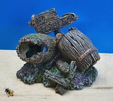 Aquarium Fish Tank Ornament Decoration 2 Old Wood Barrels New