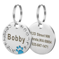 Personalized Blank Dog Tag Paw Rhinestone Pet Cat ID Name Engraved Key Chain