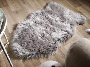 Sheepskin Rug Grey 2x3 ft Single Pelt Faux Sheep Wool Fur Rug Genuine Lookalike