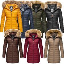Marikoo Damen Winter Jacke Steppjacke Mantel Parka Steppmantel Kunst-Pelz R-17