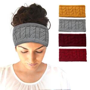 Women Ear Warmer Knitted Woolen Headband Twist Crochet Hairband Thickening Warm