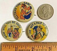 "3 Antique Vintage Large 1 1/4""  Humorous Advertising Pins Pinbacks Buttons"
