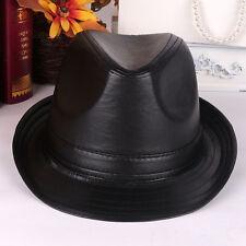 Men Women Leather Bucket Cap Brim Black Jazz Trilby Panama Hat Fedora Dance Cap