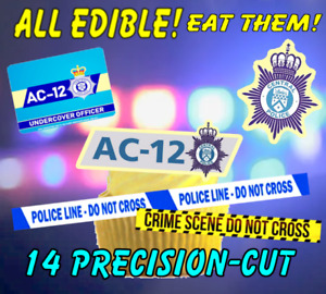 14 EDIBLE LINE OF Duty AC12 Cake Toppers, Wafer Card / Wafer Paper,~ PRE-CUT ~