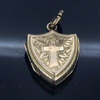 Antik 9CT Anhänger Medaillon Viktorianisch Gestempelt Shield Ästhetisch Klappbar