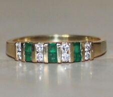 14K Yellow Gold Channel Set Square Emerald Round Diamond Band Size 9-1/2