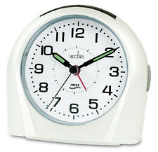 Acctim Europa White Analogue Alarm Clock Non Ticking Silent Sweeper 14112 Sweep