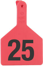 """Z-Tag Cow Tag One Piece 3"""" W x 4-1/2"""" H Hot-Stamped Ear Tags # 51-75 Red 25ct"""