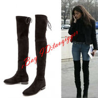 Womens Slouch Over Knee High Thigh Boots Tall Riding Suede Low Heel Size US9 10