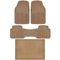 MOTORTREND® Premium Ridged Beige Rubber Floor Mats Set 4pc +Cargo Liner⭐⭐⭐⭐⭐