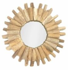 Shabby Chic Round Wall Mounted Wooden Driftwood Wall Mirror