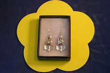 Beautiful Silver Earrings With Yellow Topaz  8.3 Gr. 3.5 Cm. Long In Gift  Box
