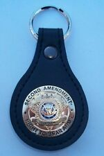"Second Amendment ""Right to Bear Arms"" Mini Badge Leather Key Fob CEP CCP 2nd"