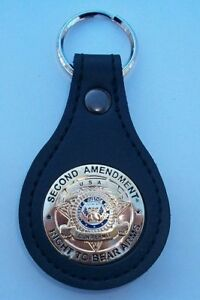 """Second Amendment """"Right to Bear Arms"""" Mini Badge Leather Key Fob CEP CCP 2nd"""