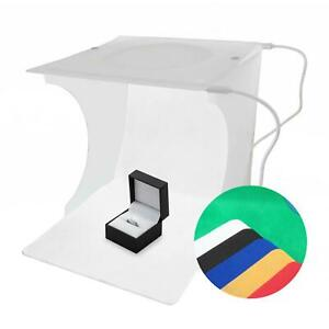 22cm LED Light Box Home Studio Product Jewellery Photography Cube & 6 Backdrops