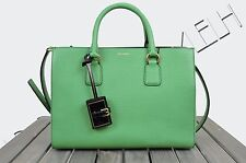 DOLCE & GABBANA 2525$ Authentic New Green Textured Leather 'CLARA' Tote Bag