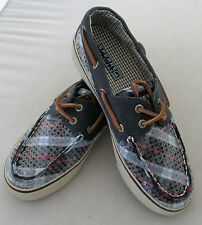 SPERRY Womens Bahama 2 eye Sequin Plaid  Boat Shoes Size 6 New Sample Top Sider