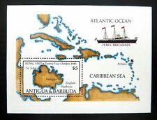 """Antigua & Barbuda - """"MAP ~ SHIPS ~ HMY BRITANNIA ~ ROYAL VISIT 1985"""" MNH MS"""