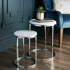 New Stunning Norsk Nest Of 2 Tables with Chrome Legs and White High Gloss Top
