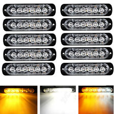 10X6 LED Ultra Slim Vehicle Autos Flashing Strobe Lights Waterproof White&Yellow