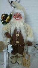NEU Weihnachtsmann  Nikolaus mit Schlitten Bär Shabby Landhaus Beige /Braun