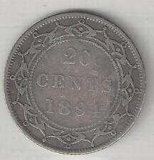 NEWFOUNDLAND,  CANADA, 1894,  20 CENTS,  SILVER,  KM#4,  FINE-VERY FINE