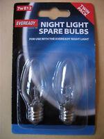 2 x E12 HIGH QUALITY NIGHT LIGHT BULBS BY EVER READY.