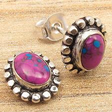 PURPLE COPPER TURQUOISE Gems Little Stud Earrings, 925 Silver Filled