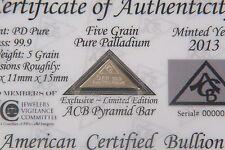 COA Included ACB Pyramid Palladium 99.9 Pure 5Grains  Bullion PD Bar <