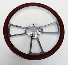"Galaxie Torino Maverick LTD Steering Wheel 14"" Burgundy and Billet Shallow Dish"
