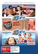OLD SCHOOL uncut + ROAD TRIP uncut + EURO TRIP = 3 DVD=PAL 4 =SEALED = FREE POST