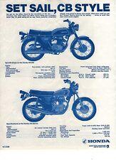 1975 HONDA CB200E CB250K5 2 page Motorcycle Brochure NOS