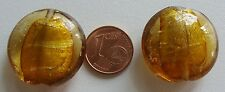 2 perles galet 25mm MARRON DORE rond plat VERRE style Murano feuille argentée