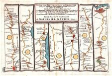 Antique map, The Roads from Exeter to Dorchester and from Plimouth to Dartmouth