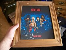 Vintage 80s MOTLEY CRUE Framed 11X13 Carnival Mirror Foil Glass Picture Wall Art