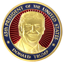 Donald Trump Challenge Coin 45th President 22KT Gold Finish and Red Blue Enamels