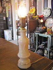 Vintage Pale Pink Custard Art Deco Milk Glass Brass Boudoir Table Lamp Light
