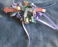 Nice Hand Crafted Ornamental Floral Piece with Mini Violin Bow - Great For Gifts