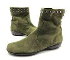 Vaneli Anthea Womens 6M Green Suede Studded Ankle Boots Booties Shoes Worn Once