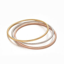 Bellissimo set di 3 bracciali rigidi in acciaio 316L - Tris Argento/Oro/Rosegold