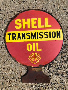 SHELL TRANSMISSION OIL ENAMEL SIGN