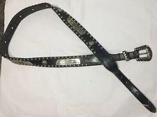 Vtg Harley Davidson Black Leather Belt 43�L 1 1/4� W Ball Bead Studded AngelWing