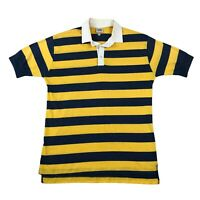 Vintage 70s 80s Lee Striped Shirt Rugby Polo Single Stitch Paper Thin Medium