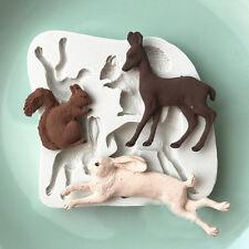 Animals Silicone Cake Fondant Deer Rabbit Squirrel Mould Chocolate Baking Mold C