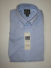 New Jos A Bank Classic Collection solid blue short sleeve shirt  size 15
