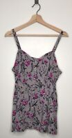 TORRID Gray with Pink Floral Strappy Tank Top Cami Button Down Plus Size 0
