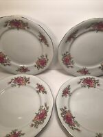 4 SOUTHINGTON BAUM FINE CHINA ''ROSE GARDEN'' DINNER PLATES POLAND Vtg 10 1/2''