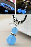 100%Beautiful natural Blue jade bead bracelet Necklace pendant earrings set