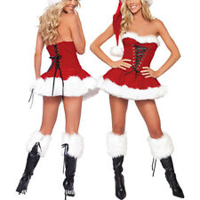 Sexy Women's Red Fancy Dress Santas Claus Velvet Costumes Outfit Shorts AU