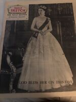 Queen Elizabeth Coronation Dated June 2, 1953 Original Newspaper, Daily Sketch